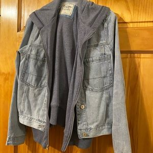 A&F Women's large denim/sweatshirt jacket LARGE